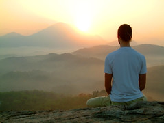 man sunrise meditatiion (gavin_manerowski) Tags: travel yoga hatha man guy male people relax flag view mountains hills relaxation meditate meditation sit sitting spiritual sport activity outdoor india indian asia asian subcontinent raja sivananda vishnu devananda enlightment hindu hinduism buddism buddah religion guru peace om shanti siva shiva posture ashtanga asana pranayama body mind soul concentrate nirvana gavinmanerowski
