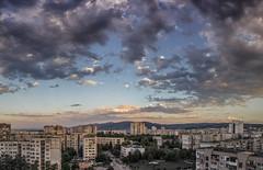 Sofia, Bulgaria - 12th floor (kmdkofi) Tags: bulgaria mladost panorama urban sofia sky clouds moon