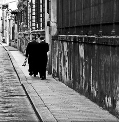 The Men In Black (Florence 2016 ) (dawn_macroart) Tags: firenze streetphotography priests bw contrast lines mobolephone italy outdoor monochrome