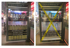 Narcos Bus Shelter Pile O Money AD - UPDATE 2116 (Brechtbug) Tags: narcos bus shelter pile o money ad tv show stop with piles slightly singed real fake or is it 2016 nyc right image taken 09102016 left 09172016 midtown manhattan new york city 49th street 7th ave st avenue moola bogus update they stole