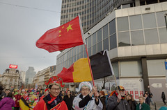 Communist takeover. Brussels, February 2016. (joelschalit) Tags: brussels belgium china labour labor communism unions flags europe europeanunion eu socialism protest demonstration globalization