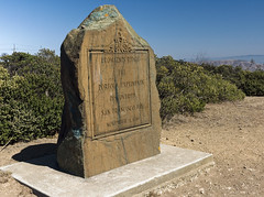 Discovery Site (LeftCoastKenny) Tags: sweeneyridge concrete plinth carved stone memorial hills brush