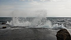 Aegean waves ,Mytilene's port Lesbos Greece (katerinamantani) Tags: waves aegeansea mytilenesport wind hellas rock bluesea dock