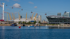 Emirates air line (Mayur Shivz - Out and about casual photography) Tags: emirates air line cable transport for london royal docks river thames united kingdom england o2 arena micro four thirs mft olympus omd em5 panasonic lumix 1235 f28 blue boat dlr train