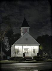 Saint Mary's League City (Trudy -) Tags: old sky church beautiful night catholic texas historic saintmarys quaint leaguecity