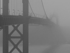 clearing fog.... ~~explore~~ () Tags: sanfrancisco california blackandwhite explore goldengatebridge 2012 blancetnoir exploredec10 foggyggb