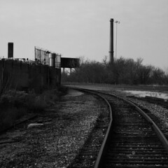 (BCalico) Tags: white chicago black turn tracks rail billboard smokestack barbedwire rails metra curve