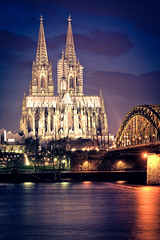 Cologne Cathedral Night Lights (_flowtation) Tags: longexposure bridge winter light sky reflection church water night reflections river lights nikon cathedral nacht dom kirche bluehour florian fluss rhi