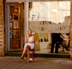 Barbers Shop (Pouria Mahrouyan) Tags: people woman london girl shop shoes legs heels londonist barbersshop booughmarket
