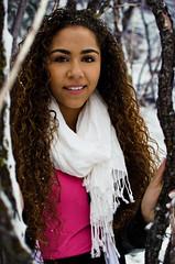 34/365 (Adrien Clay) Tags: lighting blue trees winter portrait woman snow black girl beautiful photoshop photography shadows dramatic nikond7000