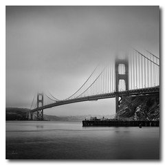 Foggy Golden Gate (kaddisudhi) Tags: sanfrancisco morning winter blackandwhite bw mist water misty fog bay pier seasons suspension misc foggy bridges places goldengate bayarea sausalito batteryspencer hoya sudhi kaddi hoyandx400 kaddisudhi kaddisudhicom