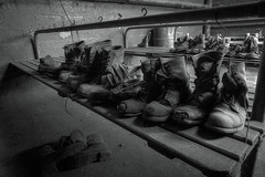 Well-heeled?  Explore #36 (Subversive Photography) Tags: blackandwhite bw usa abandoned industry america us industrial boots pennsylvania atmosphere explore urbanexploration coal subversive hdr urbex coalbreaker danielbarter