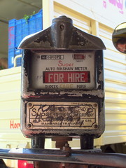 FOR HIRE (S.SBHR) Tags: india for bangalore working tourists tuktuk meter rickshaw tuk fare fore hire rupees bengaluru paise