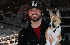 Bella's first snowfall (Scott Kinmartin) Tags: christmas blue dog pet snow smile puppy mix eyes husky holidays pitbull snowing bella breed snowfall happyholidays scottkinmartin huskibull