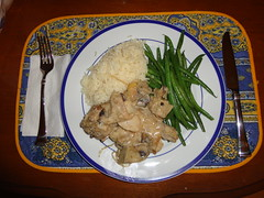 Chicken fricassee with artichokes and mushrooms, rice & green beans (akarras823) Tags: chicken dinner beans rice chickenfricassee