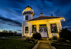 Have Yourself a Merry Little Christmas (Michael Riffle) Tags: seattle christmas xmas longexposure winter sunset lighthouse architecture night canon photography washington northwest cloudy wideangle christmaslights pacificnorthwest 2012 mukilteo mukilteolighthouse christmas2012