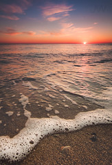 Winter Sunset (Jack Wassell) Tags: ocean sunset sea sun seascape beach water colors clouds sand low wave bubbles wideangle jackwassell