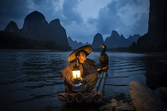 Fishing the Li River in Xinping (Michael Steverson) Tags: china man bird liriver boat fisherman asia yangshuo chinese bamboo chinadigitaltimes cormorant guangxi
