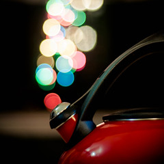 Steaming Kettle of Bokeh (lclower19) Tags: red colors square 50mm lights nikon bokeh steam kettle d90 assignment52522012 npchristmaspictureadaychallenge