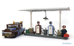 50s Vintage Gas Station 01 (_lichtblau_) Tags: chevrolet station truck design force lego mater gas pump chevy 50s tow task 3100 moc