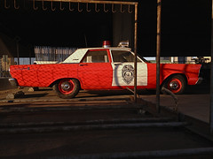 Code Red (misterbigidea) Tags: door city red urban white classic ford car vintage emblem cherry landscape waiting downtown parking lot police explore hotwheels cop parked 500 custom protection stockton siren happynewyear protect 1965 behindbars paraderest publicservant toserve