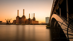 Battersea power station (Scott Baldock Photography) Tags: battersea power station london nikon lightroom light long exposure england estuary tamron thames sunset cranes chelsea pimlico horizon cityoflondon cityarchitecture victoria chimney building bridge art architecture d7000 gb great landscape quay wharf water reflection riverthames tide yellow urban old pier vauxhall onone software perfect4