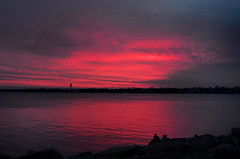 Rose Pink Sunrise (hpaich) Tags: morning pink sky cloud reflection water rose night sunrise dawn bay early newjersey skies nuvola cloudy nj reflect shore cielo jersey nuvem nube wolk raritanbay pilv