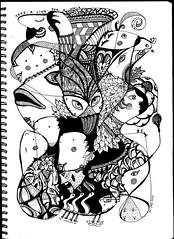 BearHeadsAndFish (AnnieM00) Tags: blackandwhite fish ink drawing polarbear zentangle takealineforawalk zendoodle anniem00