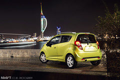 2013 Chevrolet Spark Shot For Chevrolet Europe (NWVT.co.uk) Tags: city light urban green tower cars chevrolet car night painting photography europe long exposure different darkness unique rules automotive impact portsmouth pr projects spark bold breaking gosport the spiniker nwvt