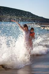 Pricless Momement. Ibiza, Cala Comta Beach (Angela Mazur Photography) Tags: summer baby beach wet fun under mother wave ibiza surprise babyboy calaconta calacomta