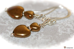 Glass Heart Earrings - Antique Bronze (DJAjewels) Tags: sterlingsilver heartearrings artdecoearrings nouveaujewelry