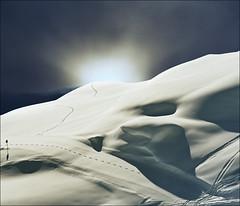 "Flash......   (  view larger size: please press ""L"") (Katarina 2353) Tags: christmas travel winter light sunset vacation sky white mountain holiday snow ski mountains alps cold fall film tourism ice nature strange face weather backlight dark landscape photography switzerland photo nikon europa europe december day waves shadows view suisse image outdoor swiss flash trails paisaje newyear skiresort valley paysage vertorama katarinastefanovic swissskiresort katarina2353 gettylicense"