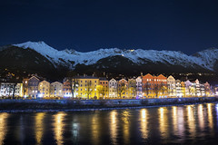Innsbruck by night (traumlichtfabrik) Tags: world city blue schnee houses sky house snow mountains alps colors night river stars geotagged lights austria tirol sterreich inn europa europe long riverside pentax nacht haus berge stadt riverfront alpen peaks blau fluss f28 coordinates tyrol position innsbruck lat lichter k5 nordkette sterne welt huser gipfel 14mm hafelekar seegrube samyang 2013 traumlicht traumlichtfabrik walixmex