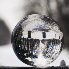 #22 - Winter (2) in a crystal ball (julie.froo) Tags: winter snow paris france 50mm pentax bokeh f14 hiver experiment snowing neige inverno justpentax