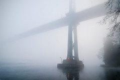 Bridge in fog (petetaylor) Tags: bridge blue water fog vancouver nikon britishcolumbia burrardinlet lionsgate nikond300 petertaylorphotography wwwpetertaylorphotocom
