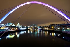 Millennium Bridge (Daisy Swain) Tags: city longexposure bridge england architecture night reflections newcastle lights riverside arc sage tyne millenniumbridge norman gateshead foster northumberland walkway infrastructure newcastleupontyne rive sigma1020mm canon60d