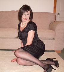Floored Again (Starrynowhere) Tags: black stockings glasses dress emma crossdressing tgirl transgender tranny transvestite heels transgendered crossdresser wiggle transvestism starrynowhere