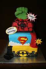 Superhero cake (Eldriva) Tags: spiderman superman superhero batman hulk sponge fondant