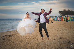 Flying Bride (Photography Studio Marroni) Tags: wedding weddinginspirations weddingphotographer weddingdress weddinggown newlyweds bride emotions romantic storyteller fun joy beach brightonbeach melbourne victoria australia flying jumping aipp passion candid happiness sony dreamwedding fearless unforgettable groom gentleman photographer photojournalism photography justmarried love life couple purelove international italianphotographer professional sunlight sunset