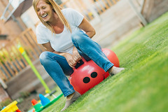 My Wife and the Space Hopper (darren.cowley) Tags: family fun home smile darrencowley wife spacehopper bounce