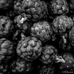 Artichokes II (PJ Resnick) Tags: pjresnick perryjresnick pjresnickgmailcom pjresnick highspeediso light atmosphere atmospheric black fujifilm digital white fuji washington pnw pacificnorthwest fujinon xf rectangular resnick 23mm fujinon23mmr xf23mmr 4x6 outdoor farmersmarket noir vancouver vancouverwa texture vegetable plant food pattern market foliage artichokes artichoke fujiacros monochrome monochromatic blackandwhite blackwhite square squareformat acrosg foodography