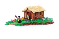 Farmer Bley's Cottage (jsnyder002) Tags: lego moc creation model design tudor cottage farmer farm thatch roof technique landscape irregular base yeoldmerrybattleground brickfair