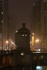 Michigan Ave. bridgehouse (urbsinhorto1837) Tags: 2016 chicago chicagoriver eastwackerdr fog gatehouse may michiganavebridge night overcast spring