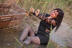 Wetlook in Black Dress and Tights #266 (Wetlook with WetFoto.com) Tags: wetlook wetfoto wetgirl brunette wethair getwet swimming fullyclothed tightdress tights heels lake