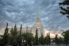 Oquirrh Mountain Temple-Sunset Sept 4, 2016 (sumoetx) Tags: thechurchofjesuschristoflatterdaysaints oquirrh mountain templesunset sept 4 2016 lds mormon temple daybreak south jordan religious religion sacred structure edifice building church sunday sunset hdr nikon d750 sumoetx howard jackman utah photographer resident photowalk angels moroni angel angle blossom trees landscaping sunflower colors colorful clouds wind summer storm stormy the jesus christ latter day saints outdoor