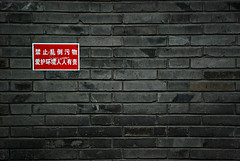 absolutely no idea II (beijing, china) (bloodybee) Tags: wall bricks board sign write chinese street beijing china asia hutong grey gray red ideogram