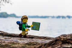 Am I lost? (Ballou34) Tags: 2016 650d afol ballou34 canon eos eos650d flickr lego legographer legography minifigures photography rebelt4i stuckinplastic t4i toy toyphotography toys rebel stuck plastic safari sipgoeshamburg2016 hamburg germany hicker lake wood backpack map compas