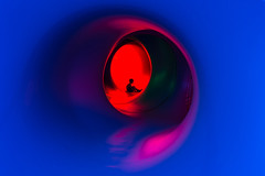 Tunnel of Light (dshoning) Tags: boy lights colors tunnel silhouette red blue 52weeksof2016