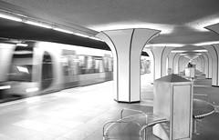 arriving (=Mirjam=) Tags: nikond750 odc metro subway bw marconiplein rotterdam ret station perron moving train september 2016
