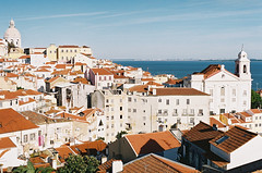 on a beautiful December day (marin.tomic) Tags: city travel roof urban film rooftop portugal church skyline river europe day cityscape view minolta lisboa lisbon panteon lissabon analogue tejo portuguese tagus alfama gettyimages pwpartlycloudy